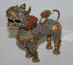 Vintage Brass Foo Dog Bottle with Turquoise and Coral Stones