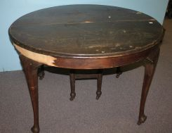 Vintage Round Queen Ann Style Dining Table