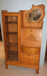 Oak Side by Side Secretary with Beveled Mirror