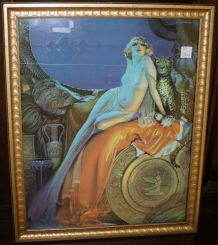 Cleopatra Style Art Deco Print in Gold Frame