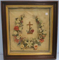 Religious Wreath in Mahogany Deepwell Shadowbox Frame