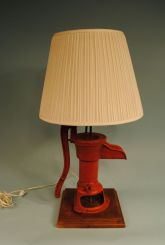 Old Pump Made Into Lamp with Walnut Base