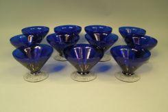Set of 11 Cobalt blue Sherbert Stems, Set of 7 cobalt Blue Water Glasses, Set of 9 Cobalt Blue Champagne Stems, Set of 8 Cobalt Blue Iced Tea Glasses