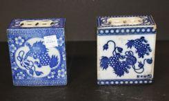 Pair of Porcelain Foo Dog Opium Bricks