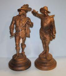 19th Century Pair Spelter Cavalier Figurines