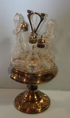 Victorian Silverplate Castor Set with Etched Glass Bottles