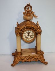 William Gilbert Clock Company Onyx and Painted Metal French Design Mantel Clock
