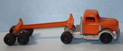 Orange and Silver Hubley Kiddie Toy Truck and Trailer