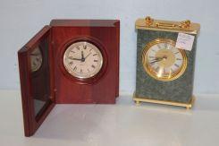 Linden Quartz Faux Marble Clock along with a Quartz Clock in a Small Box
