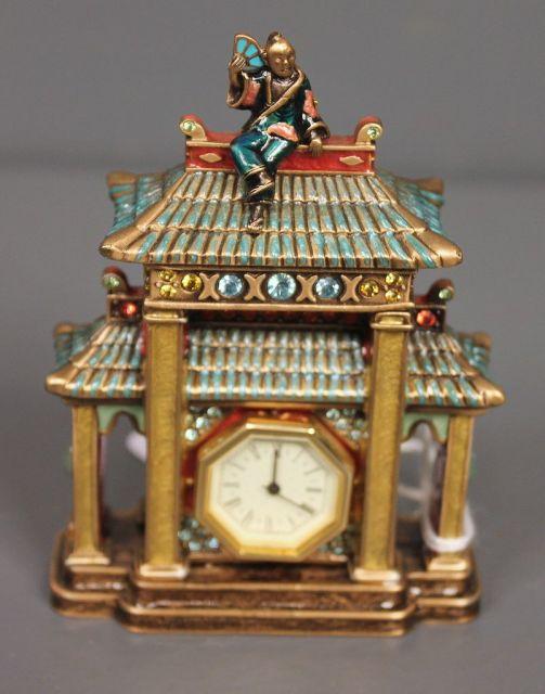 Jay Strongwater Chinoiserie Enamel and Crystal Pagoda Mini Clock
