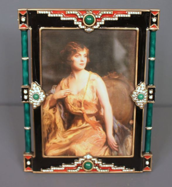 Jay Stongwater Limited Edition Enamel and Crystal Art Deco Frame