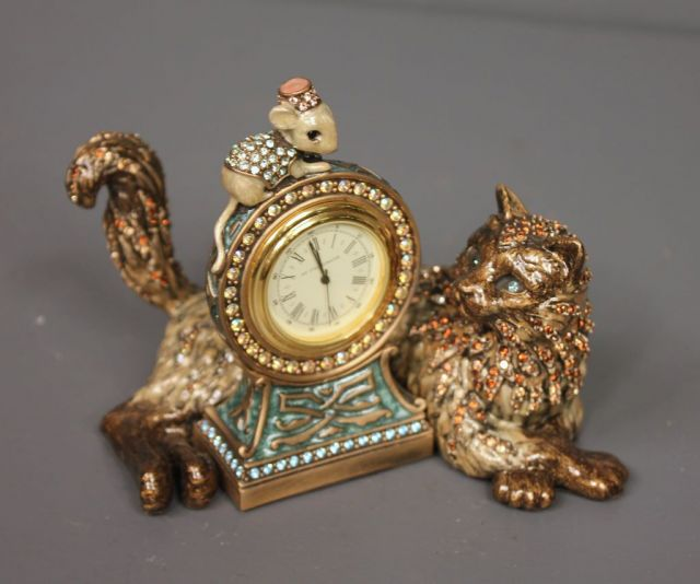 Jay Stongwater Limited Edition Enamel and Crystal Cat and Mouse Shelf Clock