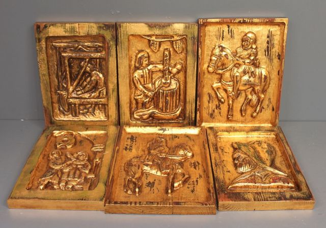 Six Wood Carved Scenes with Gold Highlighted Wall Plaques