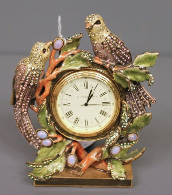 Jay Strongwater Limited Edition Flora and Fauna Enamel and Crystal Love Birds Clock
