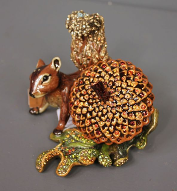 Jay Strongwater Limited Edition Enamel and Crystal Acorn and Squirrel Clock