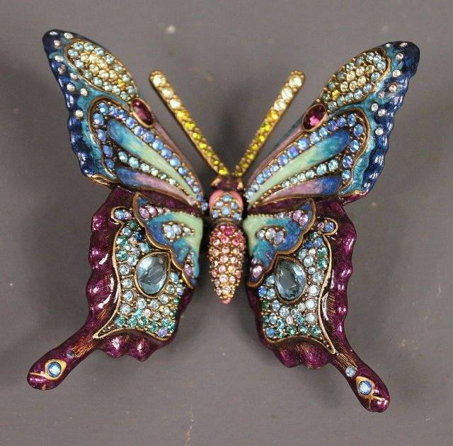 Jay Strongwater Limited Edition Flora and Fauna Enamel and Crystal Butterfly Figurine