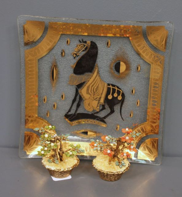 Glass Tray with Horse and Gold Trim along with Pair of Small Stone Trees