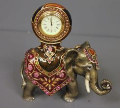 Jay Stongwater Limited Edition Enamel and Crystal Elephant Clock