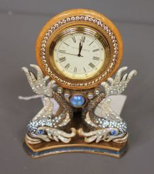 Jay Stongwater Limited Edition Enamel and Crystal Oriental Fish Shelf Clock
