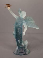 Majestic Daum Crystal Figurine of Angel with Bird