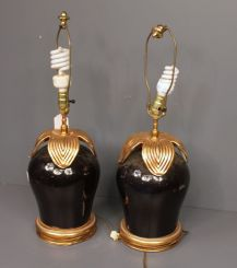 Pair of Porcelain Black and Gold Lamps