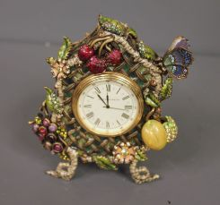 Jay Stongwater Limited Edition Enamel and Crystal Shelf Clock