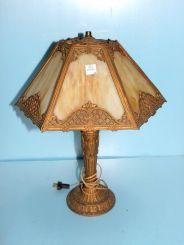 Six Panel Slag Glass Lamp