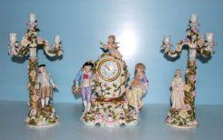 Dresden Clock and Candelabra Porcelain Set