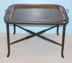 Mid 1800's Large Hand Painted Tray on Base