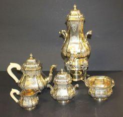Fine 19th Century Five Piece Silver French Tea Set Marked A. Aucoc, Paris