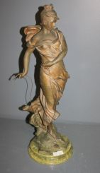Spelter Figure of Art Nouveaex Lady