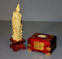 Kuan Yin Figurine and Chinese Rosewood Box