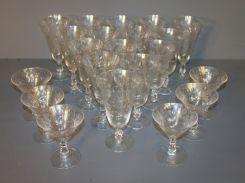 Set of Twenty One Etched Glasses