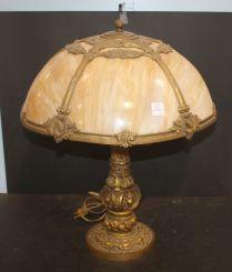 Slag Glass Lamp with Ornate Embellishment