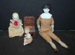 Three Antique Porcelain/Bisque Dolls
