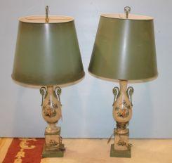 Pair of Hand Painted Metal Lamps