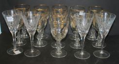 Set of Eleven Crystal Glasses Having Gold Rim, Cut Flower Bouquets in Ovals and Four Gorham Cut Glass Stems
