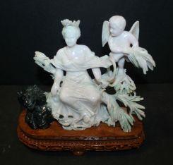 Jadeite Carved Figure of Diana on Base