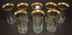 Set of Eight Gold Rim Juice Glasses