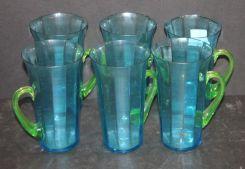 Set of Six Art Glass Mugs