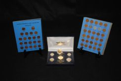 Two Collections of Lincoln Memorial Cents in Books Along with 1999 24kt. Gold Plated Coins in Box