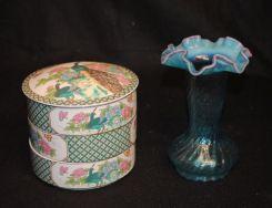 2 pc. Porcelain & Blue Vase