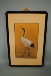 Hand Painted Silk of Crane In Black Laquer Frame with Oriental Motif Hanger