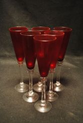 Set of Six Vintage Ruby Red Champagne Flute Glass