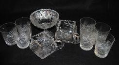 American Brilliant Cut Glass Compote, Creamer & Sugar, 7 Tumblers